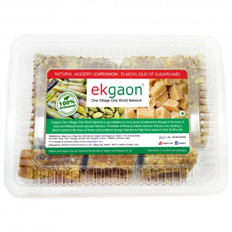 Natural Jaggery (Cardamom - Elaichi) (Gud of Sugarcane) 500 g