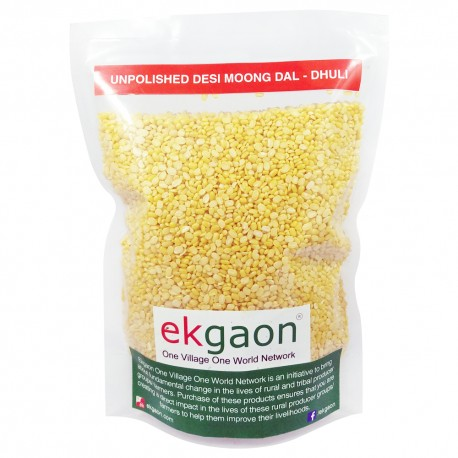 Unpolished Desi Moong Dal - Dhuli (Washed & Split Green Gram) 1 Kg