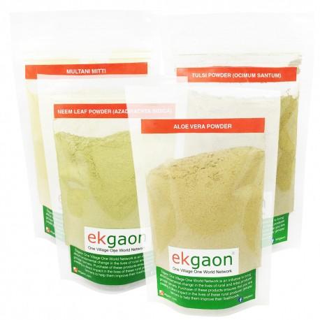 Skin Care Combo 1 (Multani Mitti 100g, Aloe Vera Powder 100g, Tulasi Powder 50g,Neem Powder 100g)