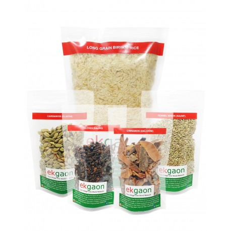 Biryani Pack (Aromatic Rice, Cardamom, Cinnamon, Cloves, Fennel) Rice 1Kg and Spices each 50g