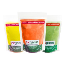 Ekgaon Organic Holi Colours - Yellow, Green, Orange(pack Of Three)each pack 100g